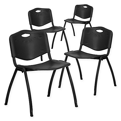 Flash Furniture Hercules Stack Chairs In Black Set Of 4 Bed Bath Beyond