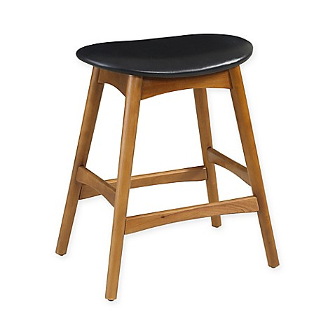 Buy 24 Inch Mid Century Saddle Stool In Oak From Bed Bath