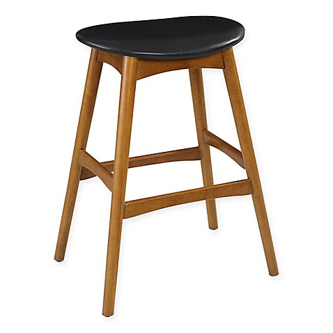 Buy 29 Inch Mid Century Saddle Stool In Oak From Bed Bath