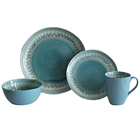 Baum Shibori 16-Piece Dinnerware Set in Aqua - Bed Bath & Beyond