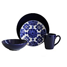 image of Baum Medallion 16-Piece Dinnerware Set in Cobalt