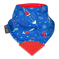 image of Cheeky Chompers® Neckerchew® Space Rockers 2-in-1 Teething Bandana Bib in Blue