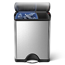 image of simplehuman® Brushed Stainless Steel Fingerprint-Proof Rectangular 46-Liter Recycler Trash Can