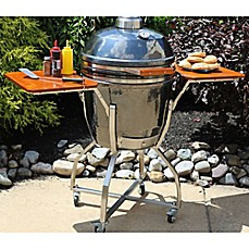 image of Hanover Kamado 19-Inch Ceramic Grill with Stainless Steel Cart