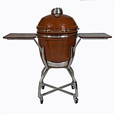 image of Hanover Kamado 19-Inch Ceramic Grill with Stainless Steel Cart and Protective Cover
