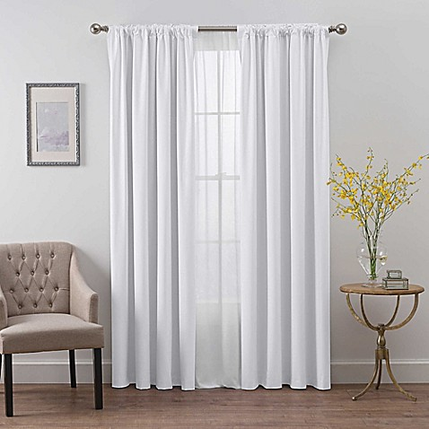 Buy Smartblock 63 Inch Rod Pocket Room Darkening Window Curtain Panel In White From Bed Bath