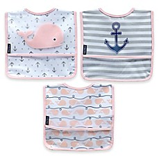 image of Nautica® 3-Pack Whale Bibs in Blue