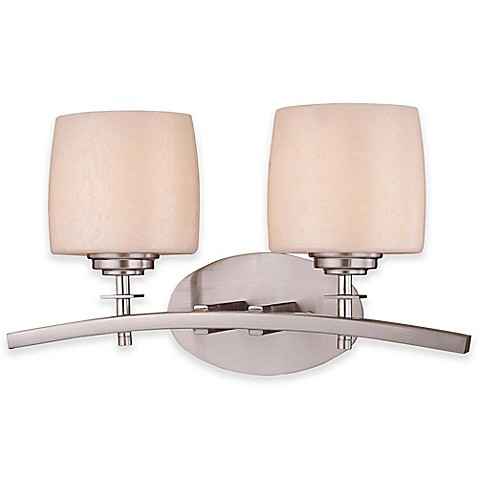 Buy minka lavery raiden 2 light bath fixture with brushed nickel finish from bed bath beyond for Minka bathroom light fixtures