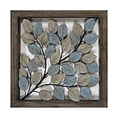 Blue Metal Wall Art leaves metal wall art in blue & cream - bed bath & beyond