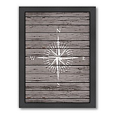 image of Americanflat Wood Quad Compass Framed Wall Art