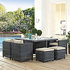 image of Modway Summon 9-Piece Outdoor Wicker Dining Set in Sunbrella® Canvas