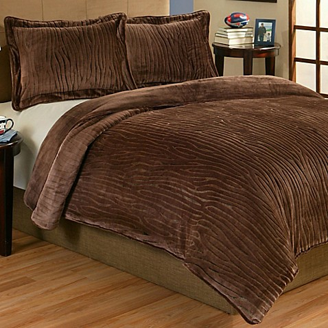 buy lodge 2 piece plush twin comforter set in brown from