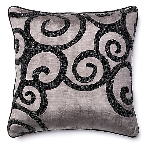 Black Beaded Throw Pillow : Loloi Acrylic Black Beaded Swirl Throw Pillow in Grey - Bed Bath & Beyond