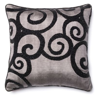 Loloi Acrylic Black Beaded Swirl Throw Pillow in Grey - Bed Bath & Beyond