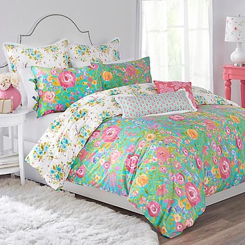 haute girls rosalie reversible comforter set in blue pink bed bath beyond. Black Bedroom Furniture Sets. Home Design Ideas