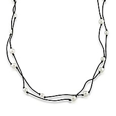 image of 1st & Gorgeous Its an Illusion White Pearl Station and Cord Rope Necklace