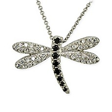 image of Sterling Silver Black & Clear Cubic Zirconia-Accented 18-Inch Chain Dragonfly Pendant Necklace