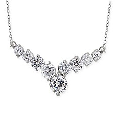 image of Sterling Silver Cubic Zirconia V-Formation 17-Inch Frontal Necklace
