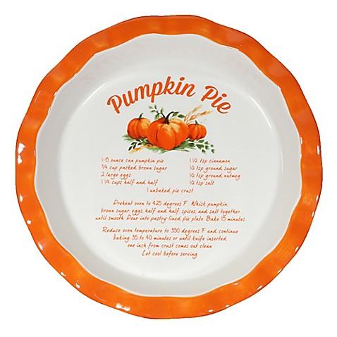 10 Inch Decorative Ceramic Pumpkin Pie Plate Bed Bath