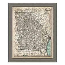 image of Framed Giclée Map of Georgia Canvas Wall Art