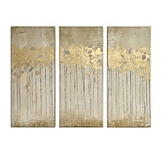 image of Madison Park Sandy Forest  Gel Coat Canvas with Gold Foil Embellishment Wall Art in Taupe (Set of 3)