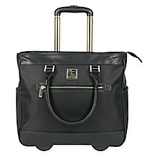 image of Kenneth Cole Nylon Twill Wheeled Computer Business Tote in Black