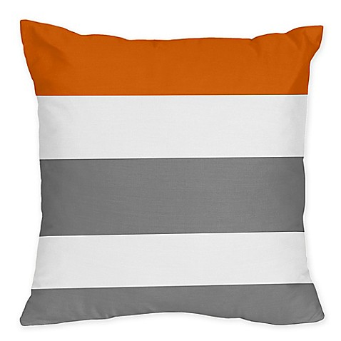 Orange Throw Pillows For Bed : Sweet Jojo Designs Grey and Orange Stripe Throw Pillows (Set of 2) - Bed Bath & Beyond