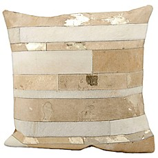 image of Mina Victory Natural Leather Hide Mixed Stripes 20-Inch Square Throw Pillow