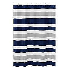Image Of Sweet Jojo Designs Navy And Grey Stripe Shower Curtain