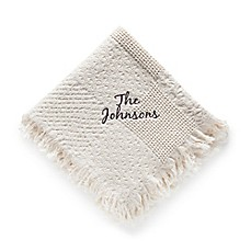 image of Woven Natural Cotton Throw with Script Font