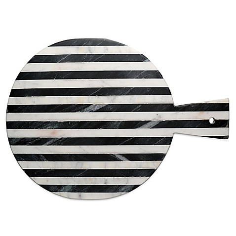 Thirstystone® Striped Marble Round Cheeseboard in Black/White