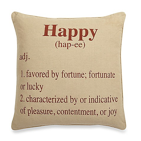 Happy Definition Faux Linen Feather Fill Pillow In Clay