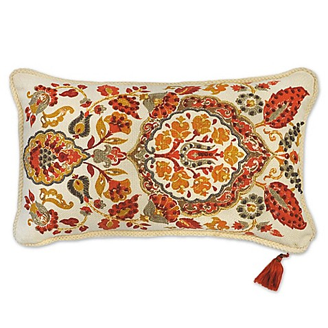 Ankara Embroidered Oblong Throw Pillow in Red - Bed Bath & Beyond