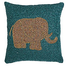 image of Thro Emelyn Elephant Square Throw Pillow in Teal/Gold