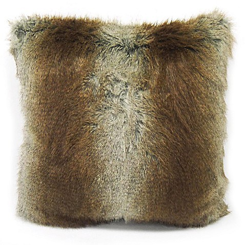 Musquash Faux Fur Square Throw Pillow In Brown Bed Bath