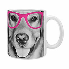 image of DENY Designs Allyson Johnson Hippest Dog Mugs in Pink (Set of 2)