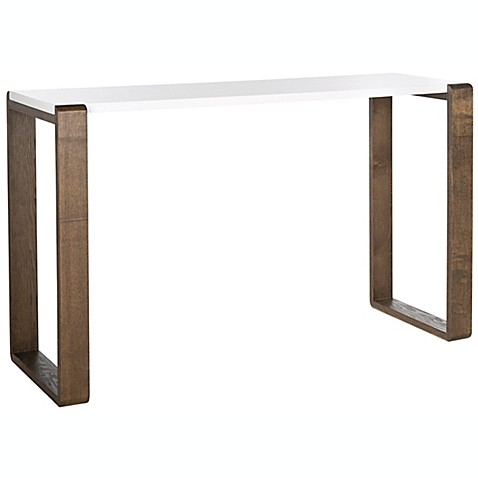 Safavieh Bartholomew Lacquer Console Table In White Brown