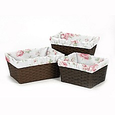 image of Sweet Jojo Designs Riley's Roses Basket Liner (Set of 3)