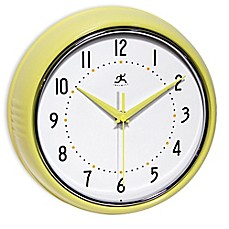 image of Infinity Instruments 9-1/2-Inch Retro Wall Clock in Yellow