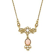 image of Downton Abbey Quartz and Simulated Pearl Crystal Jewelry Necklace