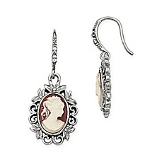 image of Downton Abbey® Silvertone Crystal-Accented Filigree Oval Cameo Drop Earrings