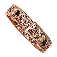 image of 1928® Jewelry Rose Goldtone Floral and Crystal-Accented Stretch Bracelet