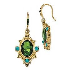 image of 1928® Jewelry Goldtone Blue and Green Crystal Textured Dangle Earrings