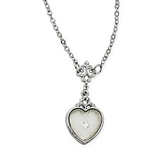 image of Downton Abbey® Silvertone Frosted Heart Filigree 16-Inch Chain Pendant Necklace