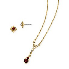 image of Downton Abbey® Goldtone Red Crystal-Accented Teardrop Necklace and Stud Earrings