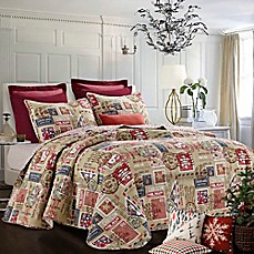 image of north pole reversible quilt set in rednavy
