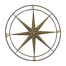 image of compass metal wall art