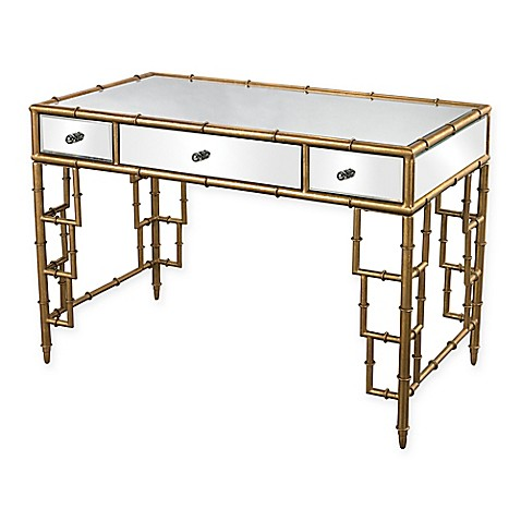 Sterling Industries 3-Drawer Mirrored Desk with Gold Bamboo Frame ...
