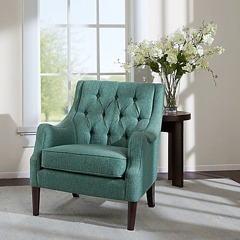 buy madison park qwen tufted accent chair in teal from bed b