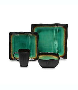Vajilla cuadrada Baum Galaxy™, en jade, 16 piezas